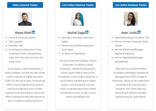social media marketing courses in delhi - course faculty