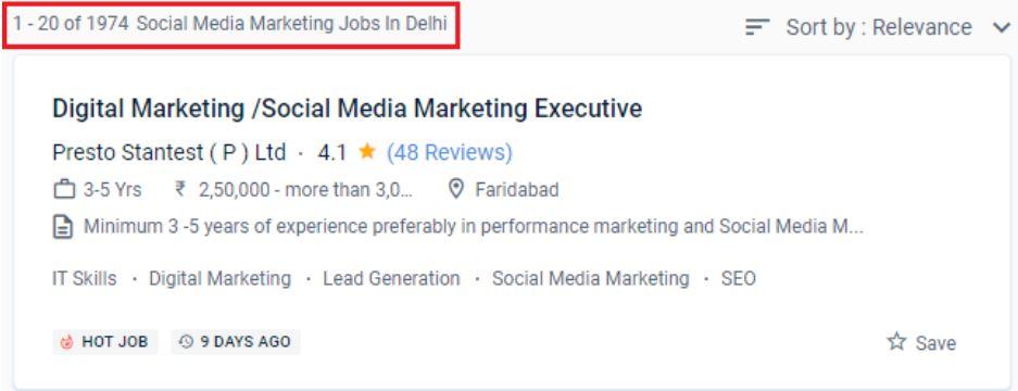 social media marketing courses in delhi - job statistics