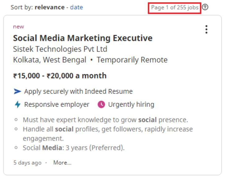 social media marketing courses in kolkata - job statistics