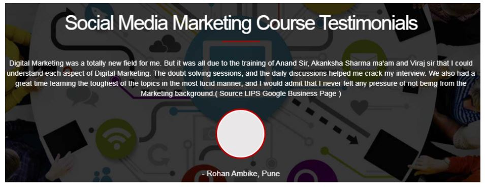 social media marketing courses in pune - lips india student reviews