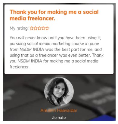 social media marketing courses in pune - nsdm student review