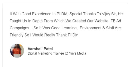 social media marketing courses in pune - piidm student reviews
