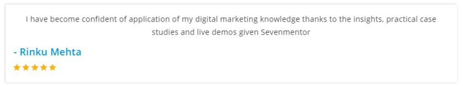 social media marketing courses in pune - seven mentor student reviews