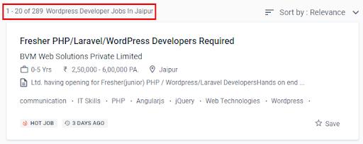 wordpress Courses in jaipur - job statistics