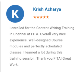 Content Writing Courses in Chennai - FITA Student Review