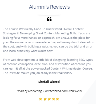 Content Writing Courses in Delhi - IIM Skills Student Review