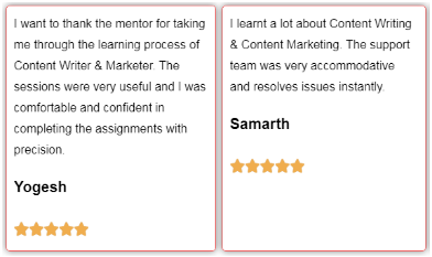 Content Writing Courses in Delhi - Skills Upgrader Student Review