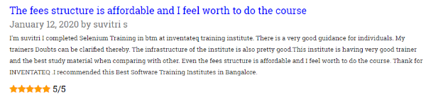 Content Writing Courses in bangalore - Inventateq Student Review