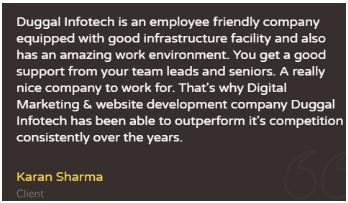 Digital Marketing Companies in Punjab - Duggal Infotech Client Review