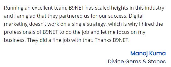 Digital Marketing Companies in Bhubaneswar - B9NET Client Review