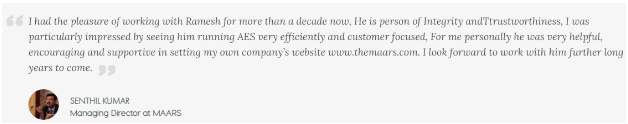 Digital Marketing Companies in Coimbatore - Advance Ecom Solutions Client Review