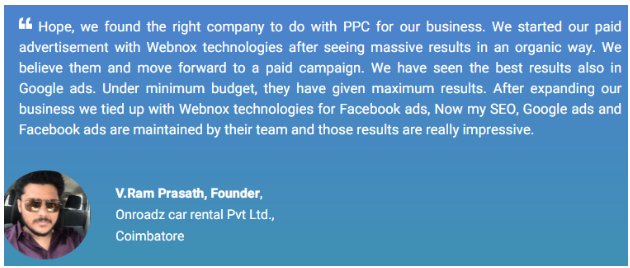 Digital Marketing Companies in Coimbatore - Webnox Technologies Client Review