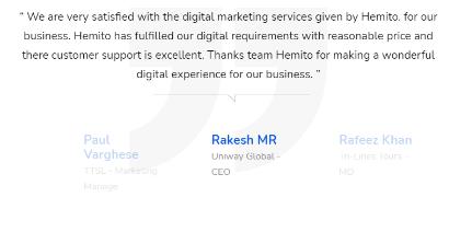 Digital Marketing Companies in Ernakulam - Hemito Digital Client Review