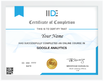 Google Analytics Courses in Pune - IIDE Google Analytics Certificate Sample