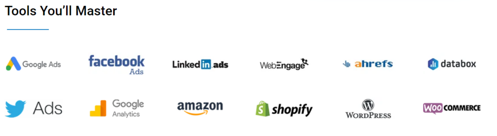 Masters in Digital Marketing - Tools Covered