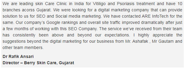 SEO Agencies in Ahmedabad - Are Infotech Client Review