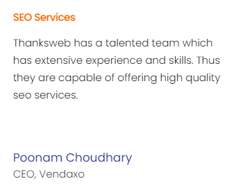SEO Agencies in Ahmedabad - Thanks Web Client Review