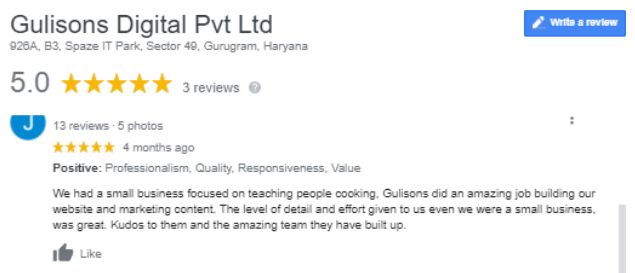 SEO Agencies in Gurgaon - Gulisons Client Review