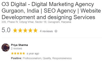 SEO Agencies in Gurgaon - O3 Digitals Client Review