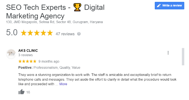 SEO Agencies in Gurgaon - SEO Tech Experts Client Review