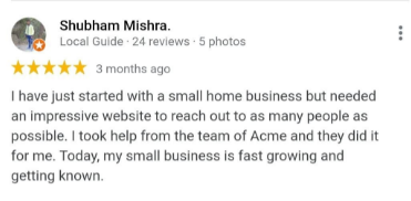 SEO Agencies in Noida - Acme Infolabs Client Review