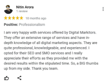 SEO Agencies in Noida - Digital Markitors Client Review