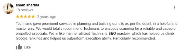 SEO Agencies in Noida - Technians Client Review