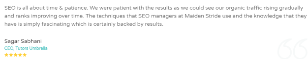 SEO Companies in Kanpur - Maiden Stride Client Review