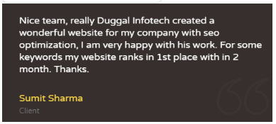 SEO companies in Amritsar - Duggal Infotech Client Review