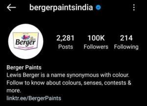 Berger Paints Social Media Instagram - Marketing Strategy of Berger Paints | IIDE