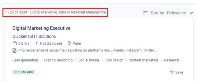 digital marketing courses in amravati - job statistics