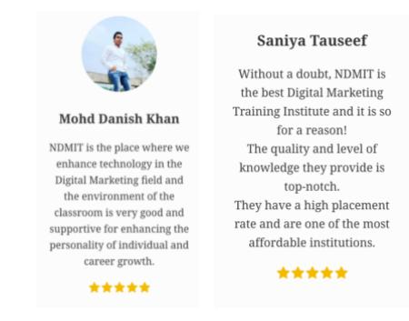 digital marketing courses in bahraich - NDMIT student testimonials