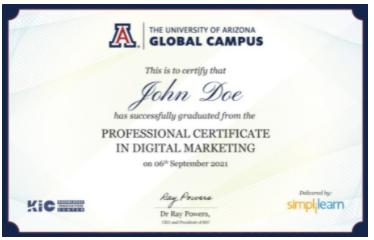 digital marketing courses in bali - simplilearn certificate