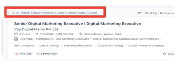 digital marketing courses in bhavnagar - job statistics