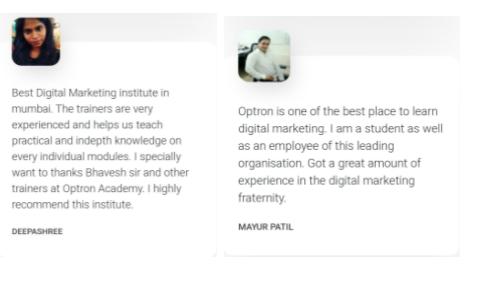 digital marketing courses in bhiwandi - optron academy student testimonials