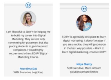 digital marketing courses in bijapur - EDIIFY student testimonials