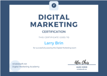 digital marketing courses in bilimora - Relaiblesoft Academy certificate