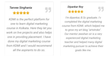 digital marketing courses in chandanagar - KDMI student testimonials