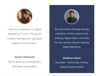 digital marketing courses in chandrapur - digital vidya student testimonials
