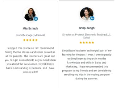 digital marketing courses in cuttack - simplilearn student testimonials