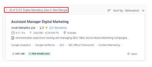 digital marketing courses in darjeeling - job statistics