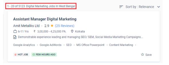 digital marketing courses in durgapur - job statistics