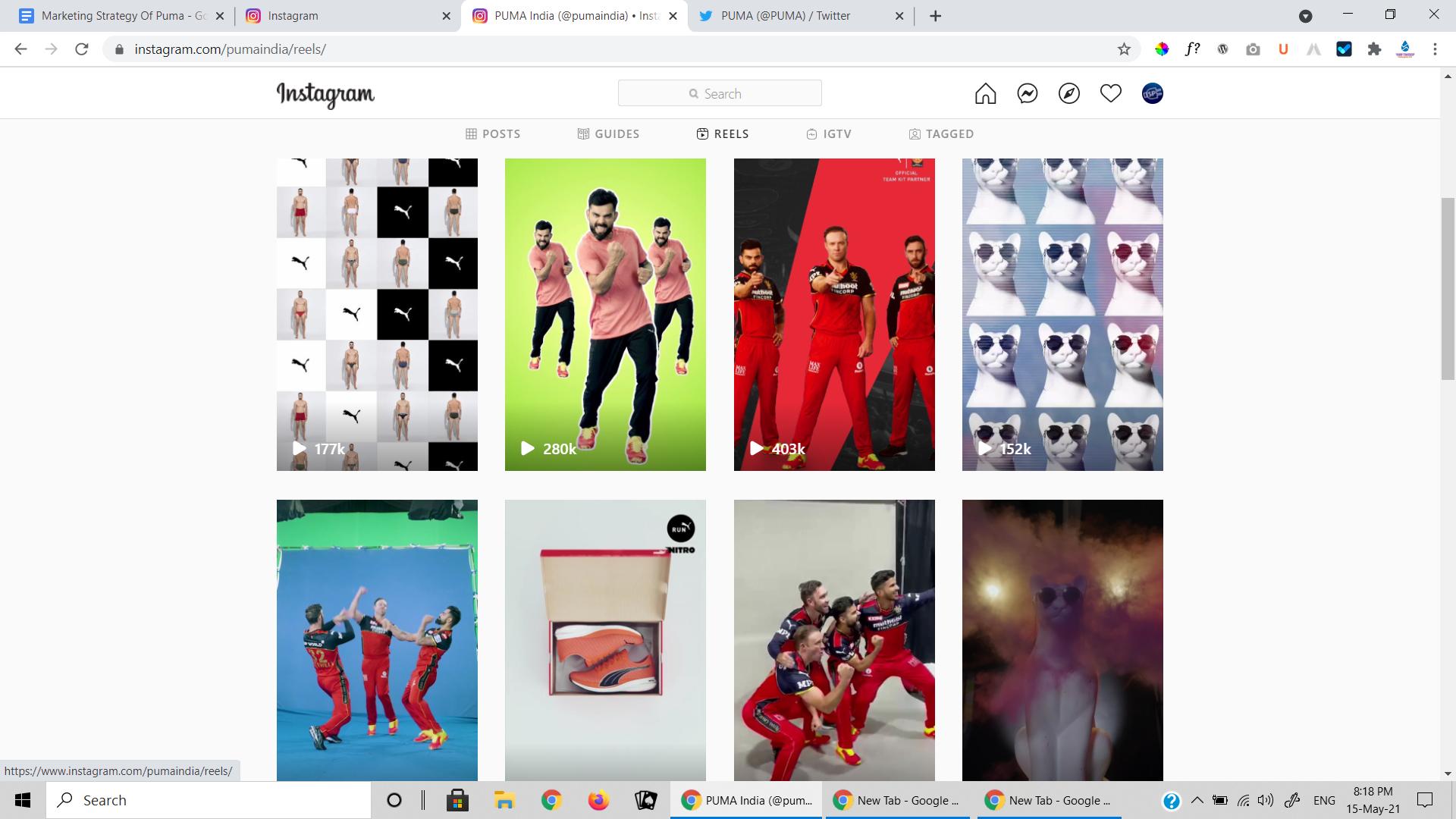 Instagram of Puma-marketing strategy of Puma-marketing strategy of Puma| IIDE