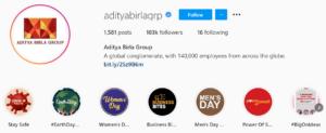 Aditya Birla Instagram Handle | IIDE