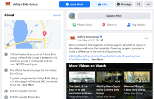 Aditya Birla Facebook Handle | IIDE