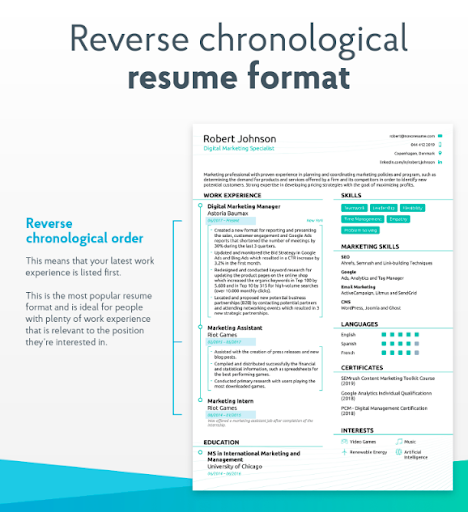 mba resume samples - reverse chronological template