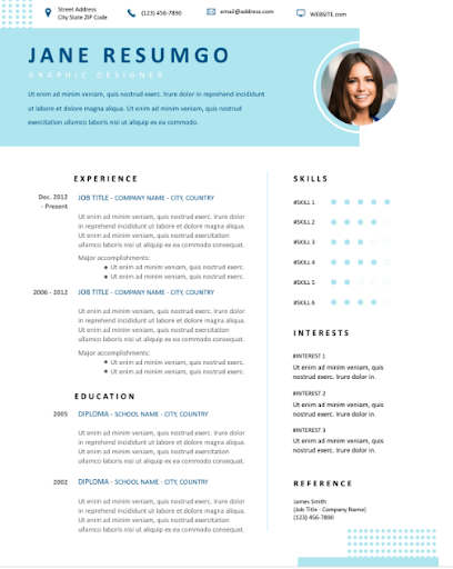 mba resume samples - two column template