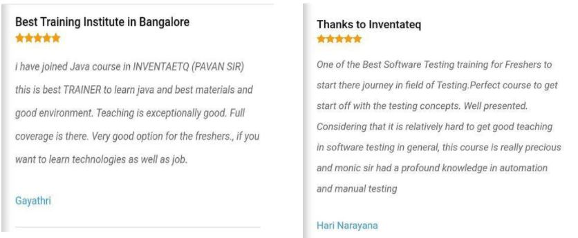 ppc Courses in bangalore - inventateq student reviews