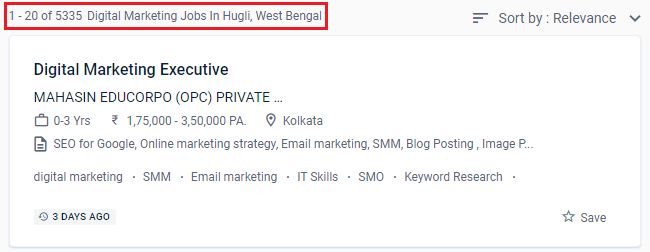 Are you looking for the best digital marketing courses in Hugli? Then you're in the right place! In this blog, we've listed the 5 best digital marketing courses in Hugli including details such as course syllabus, duration, fees, course highlights, and more.  Before we delve into this list of best digital marketing courses in Hugli, let's first habituate you with the growing scope of the digital marketing industry in India and across the world.  Digital marketing always targets a specific customer base and is interactive. As due to this pandemic everything all activities are held online & has turned to be a digital world, digital marketing course is on the rise nowadays, people choose digital marketing course as a success key of the future.  The importance of digital marketing has touched the skies in no time and has shown massively positive results in revenue and reputation building.   However, with the increase in the need for digital marketing, there also has been an increase in the need for digital marketers in cities like Hugli to handle brands and organizations and put digital marketing benefits to the best of us!   Don't believe us? Here's what the job scenario looks like for digital marketing professionals with digital marketing skills in or around your area:   Source: Naukri.com  Now knowing fully well that digital marketing is expected to grow at a rapid pace in the coming times, it would be extremely important to see how to start a career in digital marketing.  Bonus Tip: If you've recently completed your graduation and are looking for post-graduation courses, you should check out the 11- month MBA-Level Post-graduation in Digital Marketing.